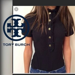 Tory Burch Lidia ruffle collar top size medium